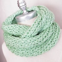 Light Mint Green Scarf, Infinity Scarf, Knit Fall Scarf, Loop Scarf, Mobius Scarf, Fashion Knitwear, Fall Essentials,