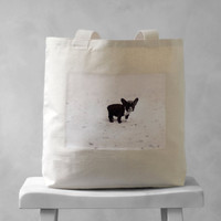 French Bulldog Vintage Photograph - Natural or Black Canvas Bag - Carryall Tote - School Bag