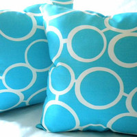 Trina Turk Aqua Spectacles Turquoise Indoor/Outdoor Pillow cover 18 x 18