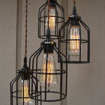Upcycled 4 Light Industrial Pendant with Edison by BenclifDesigns