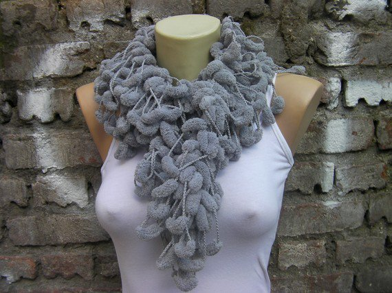 Grey pom pom scarf by ColorfullScarfs on Etsy