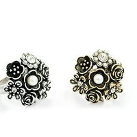Korea Retro Style 5PCS Pearl and Flower Embellished Finger Rings
