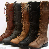 Women&#x27;s Winter Military Lace Up Low Heel Knee High Boot Shoes W/ Zipper NEW