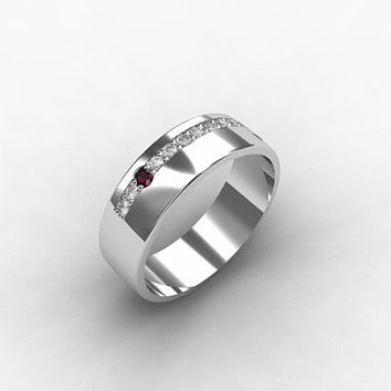 ... diamond ring, men palladium band, mens ring, mens ruby wedding, ruby