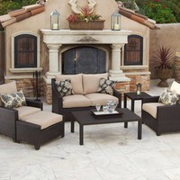 RST Outdoor Delano Deep Seating Love Seat, Club Chairs, Coffee and End Table Set Patio Furniture, 6