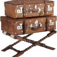 One Kings Lane - Laurin Copen - Set of Leather Suitcases w/ Stand