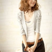 Hottest Korea Fashionable Stripe Ladies Jacket Grey : Yoco-fashion.com