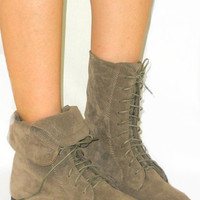 SO SOFT Fold Over Lace Up Boot Flat Ankle Bootie Calf High*Faux Suede* BEIGE 6.5