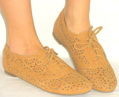 SO CUTE!! Cutout Sandal Oxford Super Soft Lace Up Flat *Flexible Sole* TAN 10
