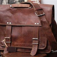 18 inch handmade leather retro leather bag satchel travel bag office shoulder bag