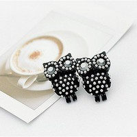 Lovely Black Owl Stud Earrings at Online Cheap Fashion Jewelry Store Gofavor