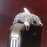 3.5mm Cute Crystal Dolphin Crocodile Dog Puppy Bear Anti Dust Antidust Earphone Plug Stopper Cap fo