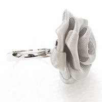 Fashion White Rose Ring Flower Ring (Adjustable) at Online Cheap Fashion Jewelry Store Gofavor