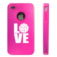 Hot Pink Apple iPhone 4 4S 4G Aluminum hard case D2979 Love Volleyball