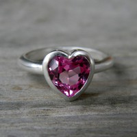 HEART Ring in PINK Topaz & Sterling Silver Heart, Made To Order, Heart On your Sleeve Made in Your Size