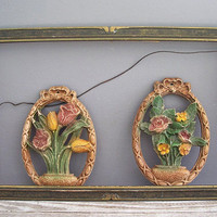 2 vintage flower picture plaques by KatyBitsandPieces on Etsy