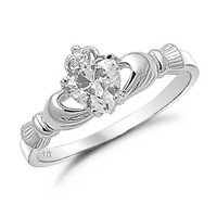 Sterling Silver Heart Shaped CZ Claddagh Ring Sizes 4 to 9 , 9