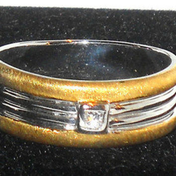 Mens Silver Diamond Band Ring Size 11
