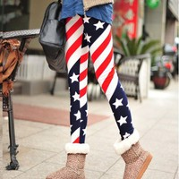 The Winter new models American flag stars stripes thick warm fashion leggings DDK0006 from lovely girls