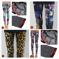 Was thin the hip Slim thick warm graffiti Leggings DDK0005 from lovely girls