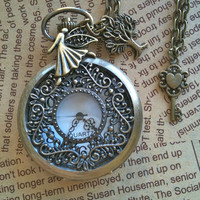 Happy angel steampunk Pocket Watch necklace by Victorianstudio