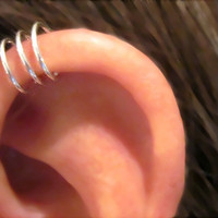 "Holiday SALE 3 for Price of 2 No Piercing Sterling Silver  Handmade Helix Cuff Ear Cuff ""Triple Loops"""