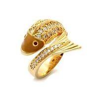 Mallory's Gold Plated Cubic Zirconia Goldfish Ring - Only $36;39.95        Smdash; Fantasy Jewelry Box