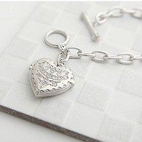 Fashion Heart Charm Link Bracelet at online cheap fashion jewelry store Gofavor