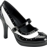 Ladies Black And White Gangster Shoes (Size:10)