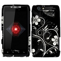 For Motorola Droid RAZR XT912 (Verizon) Rubberized White Flowers Design Snap-on Protector Shell Cas