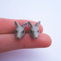 Earrings - Vintage Plastic Kangaroo Heads - Posts - Limited Pairs - READY TO SHIP