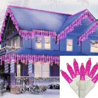 Set of 70 Hot Pink LED M5 Twinkle Icicle Christmas Lights - White Wire