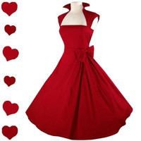 New RED Xmas Rockabilly 50s FULL SKIRT Swing Dress M Pinup Prom PARTY Bow Retro | eBay
