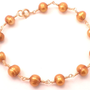 Gold Freshwater Pearl bracelet - Wire Wrapped