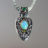 GERTRUDE silver and 14K pendant with Ethiopian Opal and Chrisoprase