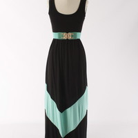 Colorblock Black &amp; Mint Aqua Long Tank Chevron Stripe Maxi Dress