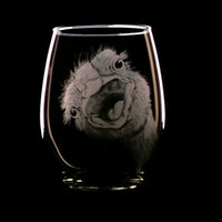 happy ostrich red wine glass , hand engraved glassware, steware, barware