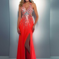 Cassandra Stone by Mac Duggal 85146A Neon Orange Dress