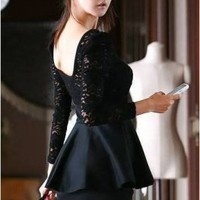 Wholesale Graceful Charming U-shaped Collar Slim Lace Dress Black