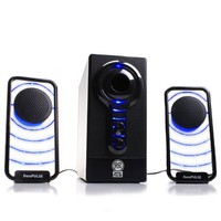 GOgroove BassPULSE Glowing Blue LED Computer Speaker Sound System - Works with Dell , ASUS , Lenovo , Apple , Alienware and More Desktops , Laptops , Gaming Towers and Steam Consoles