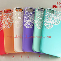 iphone 5 case, lace iphone 5 case, white lace and pearl trim Hard Case, six colors for choice