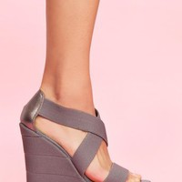 Bound Platform Wedge - Slate in Shoes at Nasty Gal