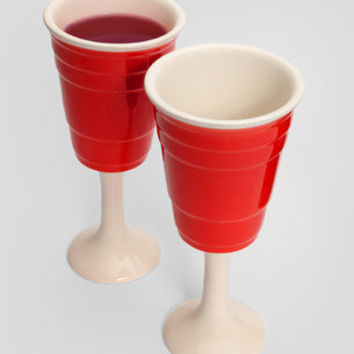 Red Cup Wine Glass Set From