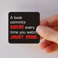 a book commits suicide square magnet by BookFiend on Etsy