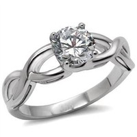 Amazon.com: Stainless Steel Solitaire Round Cubic Zirconia Twisted Band Engagement Ring: Jewelry