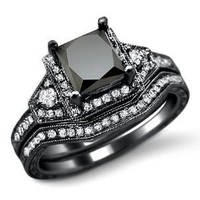 Amazon.com: 2.0ct Black Princess Cut Diamond Engagement Ring Bridal Set 14k Black Gold: Jewelry