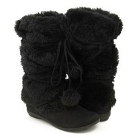 Amazon.com: Mukluks Soft Furry Pom-pom Snow Winter Flat Boot Black: Shoes