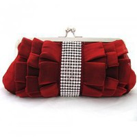 Shining Satin Shell With Rhinestone Evening Clutches Purplish Red : Wholesaleclothing4u.com