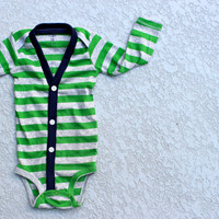 Baby Cardigan Onesuit  Green Preppy Baby Boy Cardi  by HaddonCo