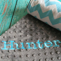 Personalized Baby Blanket  Aqua Chevron by TheButtercupBoutique